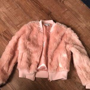 Pink fur bomber jacket